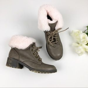 Justice Gray Lace Up Pink Faux Fur Lined Boots